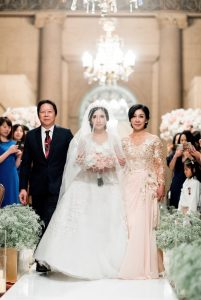 Her wedding gown was a made-to-order dress by a family designer from her hometown, Karma Gyalpo