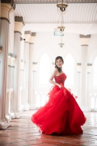 Racheal in beautiful red gown