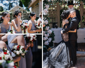 romantic black Wedding ceremony and bridesmaids