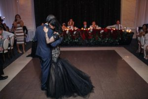 Amy's dance with father during her gothic wedding
