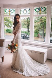 Rachel in her Dreamy Lace wedding gown