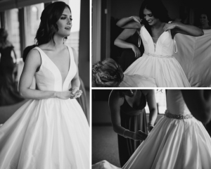 Marah fitting in Justin Alexander Gown