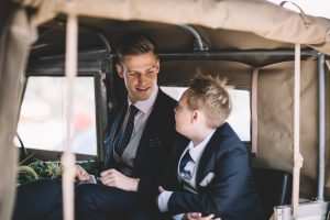 Katy surprised Ben with a cream land rover that takes the groom and groomsmen to the wedding venue.