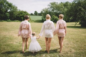 Hollie & bridesmaid with flowergirl