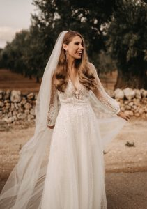 Josephine in wedding dress from Kaviar Gauche