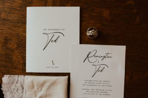 Wedding invitation of Remington & Ted