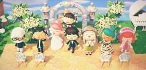 wedding celebration on animal crossing