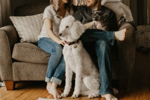 couple with dogs at home