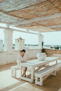 jieyu at wedding venue at Masseria Potenti